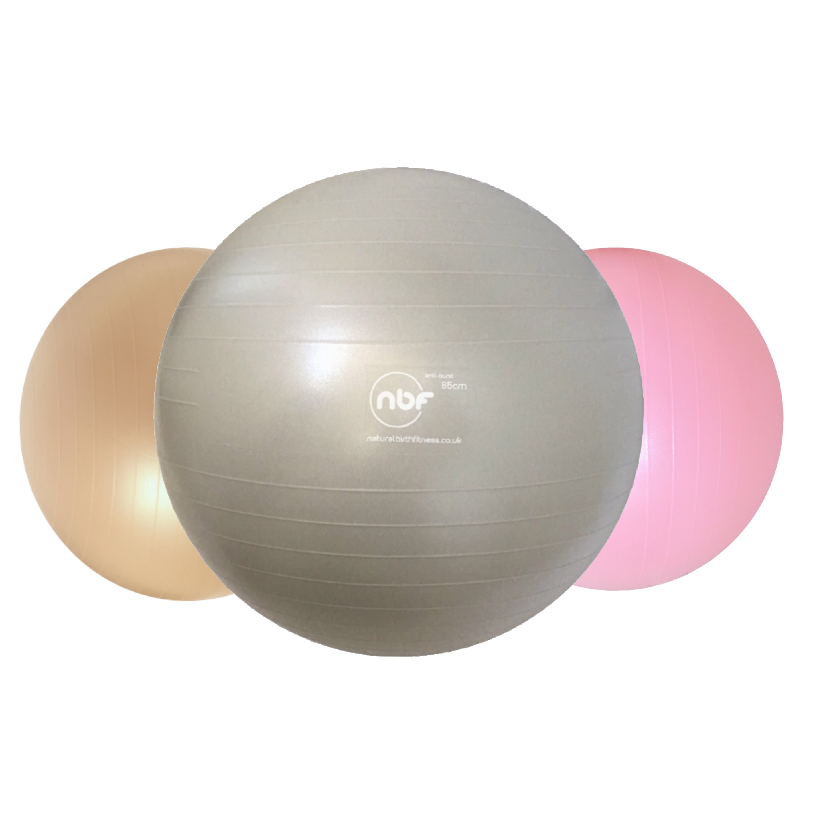 NBF Birth ball: silver, gold, pink