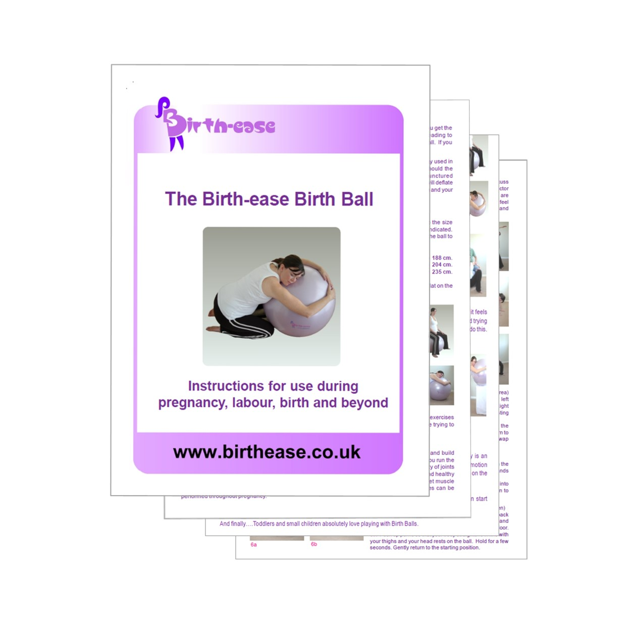 Leaflet and instructions for using the birthease birthing ball