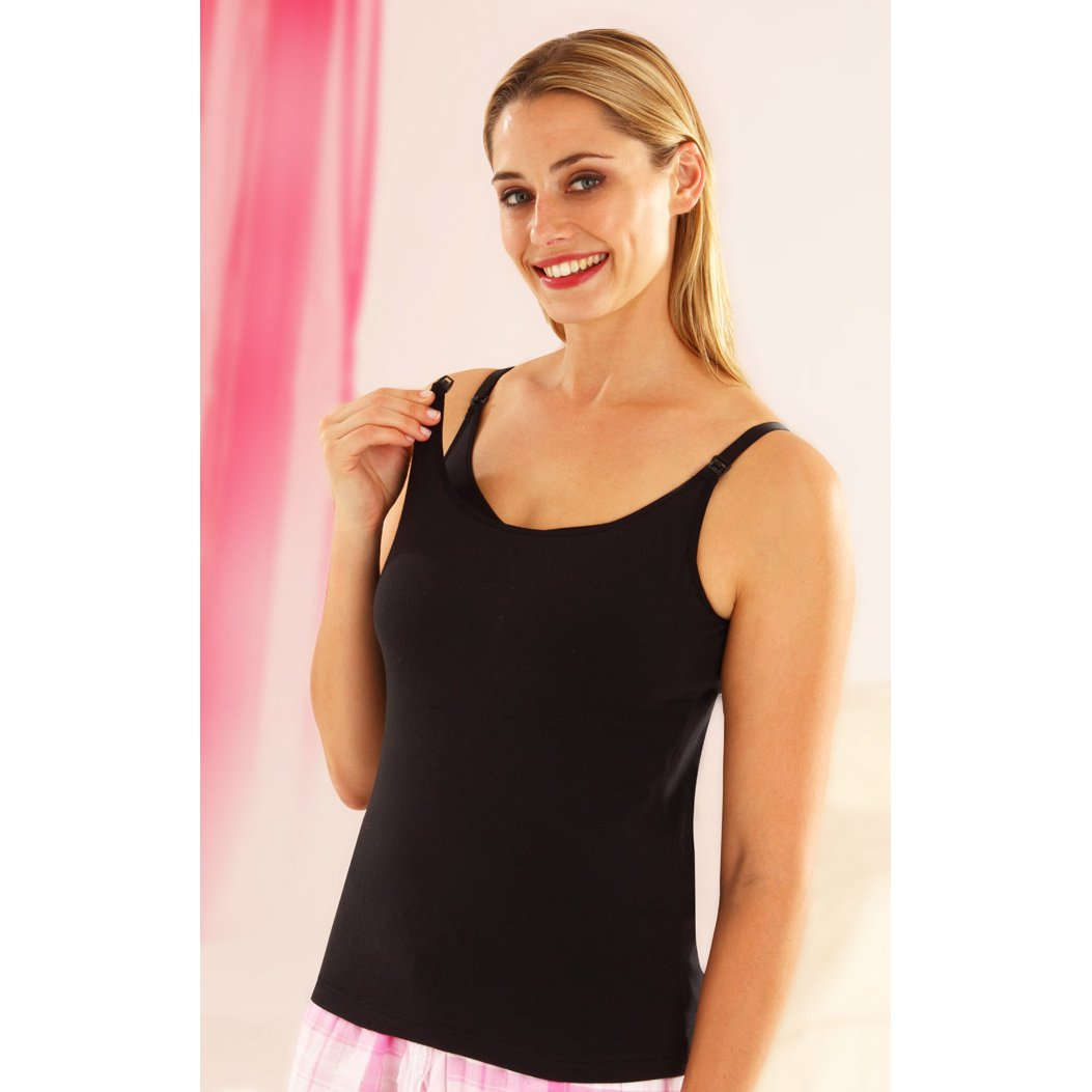Emma Jane Nursing Vest Top Standard Length Black