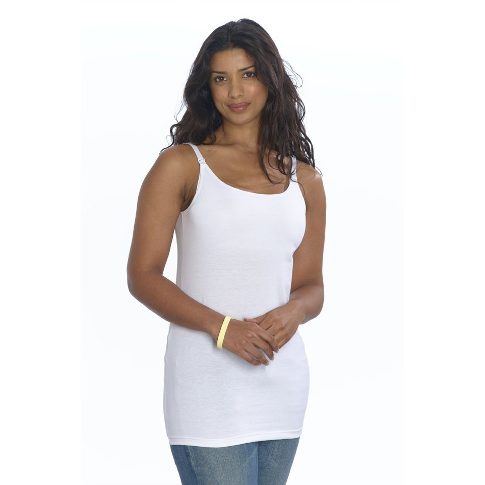 Emma Jane Nursing Vest Top Long Length White