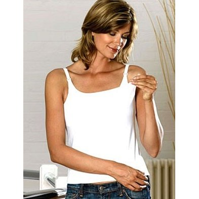 Emma Jane Nursing Vest Top Standard Length White